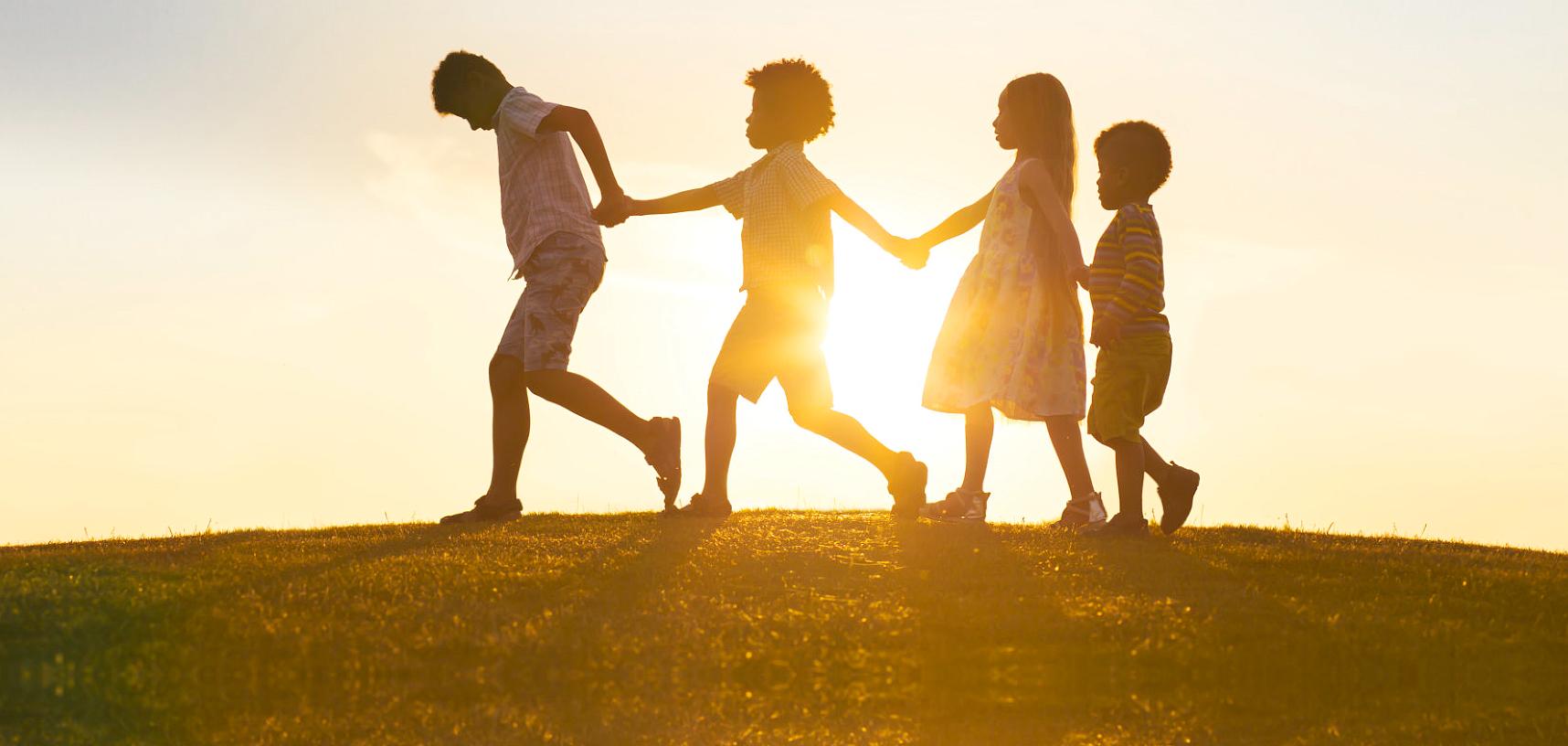 group of kids walking